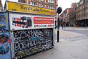 Closed theatre ticket kiosk in the West End as the national coronavirus lockdown three continues and theatres have to remain shut on 29th January 2021 in London, United Kingdom. Following the surge in cases over the Winter including a new UK variant of Covid-19, this nationwide lockdown advises all citizens to follow the message to stay at home, protect the NHS and save lives.