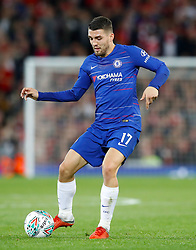 """Chelsea's Mateo Kovacic during the Carabao Cup, Third Round match at Anfield, Liverpool. PRESS ASSOCIATION Photo. Picture date: Wednesday September 26, 2018. See PA story SOCCER Liverpool. Photo credit should read: Martin Rickett/PA Wire. RESTRICTIONS: EDITORIAL USE ONLY No use with unauthorised audio, video, data, fixture lists, club/league logos or """"live"""" services. Online in-match use limited to 120 images, no video emulation. No use in betting, games or single club/league/player publications."""