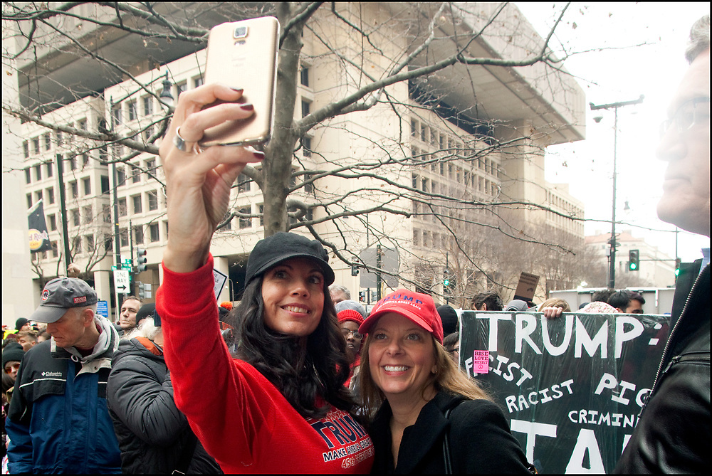 On the day of the Inauguration of Donald J. Trump, January 20, 2017, protesters blocked entryways to the event and chained themselves to barricades, attempting with little success to prevent Trump supporters from gathering near the inaugural parade route. Along the parade route, hundreds of demonstrators gathered at designated protest sites, waved signs and chanted anti-Trump slogans.