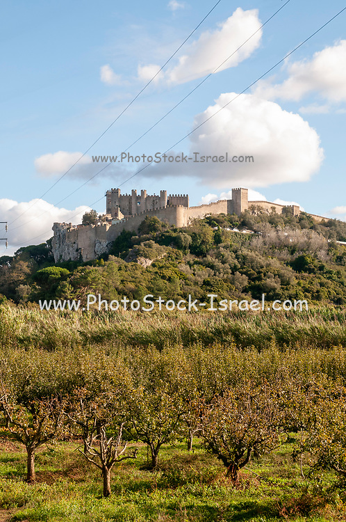 The castle and wall of Obidos, Portugal view from the west.