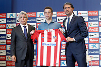 Atletico de Madrid's new player Diogo Jota (c) during his official presentation with the President Enrique Cerezo (l) and the General Manager Jose Luis Perez Caminero. July 14, 2016. (ALTERPHOTOS/Acero)