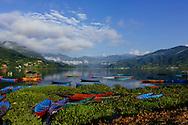 Fewa Lake in Pokhara, Nepal