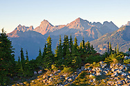 Canadian Border Peak, American Border Peak and Mount Larabee (among others) from Artist Point in the Mount Baker-Snoqualmie National Forest.