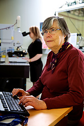Infrared Beamline, Australian Synchrotron.   Two users, Merril Rowley & ? at computer, Infrared Beamline