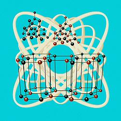 Retro Molecular Structure viintage science illustration on green blue background