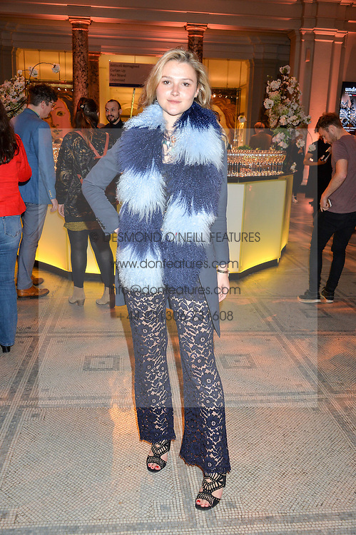 """AMBER ATHERTON at a private view of Undressed: A Brief History Of Underwear"""" at the V&A, London on 13th April 2016."""