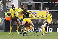 Oxford United's Cameron Brannagan (8) surrounded by Burton Albion players during the EFL Sky Bet League 1 match between Burton Albion and Oxford United at the Pirelli Stadium, Burton upon Trent, England on 2 February 2019.