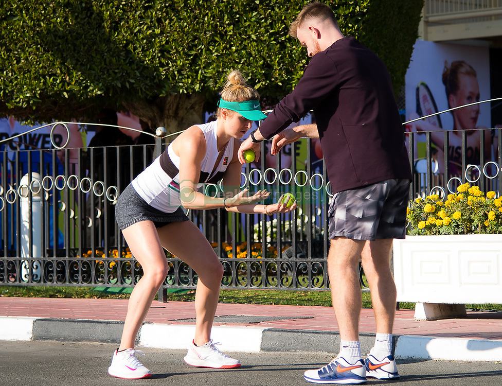 February 13, 2019 - Doha, QATAR - Elina Svitolina of the Ukraine warms up for her second-round match at the 2019 Qatar Total Open WTA Premier tennis tournament (Credit Image: © AFP7 via ZUMA Wire)
