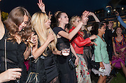 ZARA MARTIN; CARA DELEVIGNE; SUKI WATERHOUSE; BIP LING, Serpentine Summer party 2012 sponsored by Leon Max. Pavilion designed by Herzog & de Meuron and Ai Weiwei. Kensington Gardens. London. 26 June 2012.