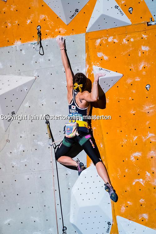Jain Kim of South Korea competes in Lead Women's final event at the International Federation of Sport Climbing (IFSC) World Cup 2017 at Edinburgh International Climbing Arena, Scotland, United Kingdom.