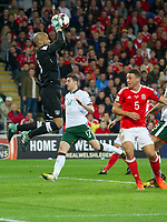 Football - 2017 / 2018 FIFA World Cup Qualifier - Group D: Wales vs. Republic of Ireland<br /> <br /> Darren Randolph of Republic of Ireland catches the ball, challenged by James Chester of Wales, at Cardiff City Stadium.<br /> <br /> COLORSPORT/WINSTON BYNORTH