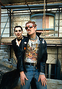 The Damned Group photosession on Alexander St West London. Stiff  Records office - Dave Vanian and Captain Sensible