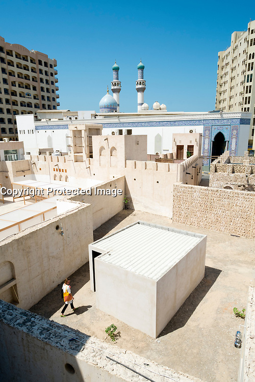 View over courtyards used for exhibition spaces at the 11th Sharjah Biennial art and cultural festival in Sharjah United Arab Emirates