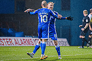 GOAL 3-0 Gillingham FC midfielder Jordan Graham (10) celebrates with Gillingham FC midfielder Kyle Dempsey (8) as the number 8 scores for Gillingham during the EFL Sky Bet League 1 match between Gillingham and Crewe Alexandra at the MEMS Priestfield Stadium, Gillingham, England on 26 January 2021.