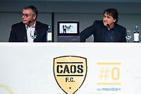 "Tv Hosts Michael Robinson and Raul Garcia during the presentation of the new tv program #0 of Movistar+ ""Caos FC"" at Ciudad del Futbol of Las Rozas in Madrid. November 21, Spain. 2016. (ALTERPHOTOS/BorjaB.Hojas)"