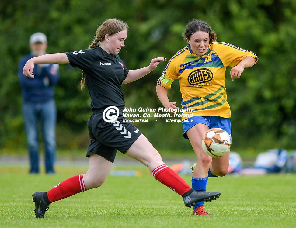 Full Time Score 2 - 2<br /> <br /> Balrath's Michaela Gavigan, gets a tackle in on Sophie Finnegan of Skryne/Tara, in the Skryne/Tara v Balrath, North East Football League Women's Div South match, at Ross Cross, Tara.<br /> <br /> Photo: GERRY SHANAHAN-WWW.QUIRKE.IE<br /> <br /> 26-06-2021