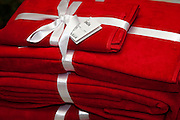 Beautiful red towels from Ikea offered as a drawing prize. Swedish Julbord American Swedish Institute St Paul Minnesota USA