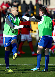 Leicester City's Islam Slimani (left) warms up before the FA Cup, third round match at Highbury Stadium, Fleetwood