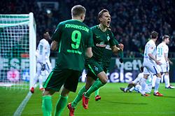 11.02.2018, Weserstadion, Bremen, GER, 1. FBL, SV Werder Bremen vs VfL Wolfsburg, 22. Runde, im Bild Ludwig Augustinsson (SV Werder Bremen #5) trifft zum 1:0, hier beim Jubel // during the German Bundesliga 22th round match between SV Werder Bremen vs VfL Wolfsburg at the Weserstadion in Bremen, Germany on 2018/02/11. EXPA Pictures © 2018, PhotoCredit: EXPA/ Andreas Gumz<br /> <br /> *****ATTENTION - OUT of GER*****