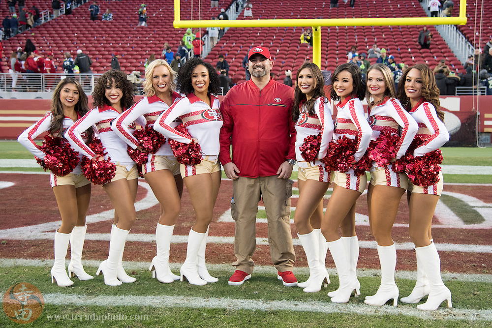 January 1, 2017; Santa Clara, CA, USA; (L-R) San Francisco 49ers Gold Rush cheerleaders Danielle, Natalie, Shasta, Lynnette, Kiirsta, Aleena, Carina, and Cassie after the game against the Seattle Seahawks at Levi's Stadium. The Seahawks defeated the 49ers 25-23.