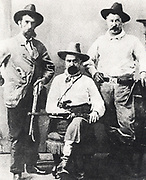 Manhunters: William A Pinkerton, centre, son of Alfred Pinkerton founder of Pinkerton's National Detective Agency in 1850, and two of his agents Pat Connell, left, and Sam Finley in the late 1870s..