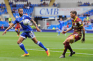 Cardiff City's Jazz Richards (l) controls the ball from QPR's Ben Gladwin. EFL Skybet championship match, Cardiff city v Queens Park Rangers at the Cardiff city stadium in Cardiff, South Wales on Sunday 14th August 2016.<br /> pic by Carl Robertson, Andrew Orchard sports photography.
