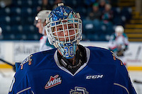 KELOWNA, CANADA - DECEMBER 30: Griffen Outhouse #30 of the Victoria Royals stands on the ice during warm up against the Kelowna Rockets on December 30, 2016 at Prospera Place in Kelowna, British Columbia, Canada.  (Photo by Marissa Baecker/Shoot the Breeze)  *** Local Caption ***