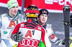 "29.01.2019, Planai, Schladming, AUT, FIS Weltcup Ski Alpin, Slalom, Herren, 2. Lauf, im Bild v.l.: 3. Platz Daniel Yule (SUI), sieger Marcel Hirscher (AUT), 2. Platz Alexis Pinturault (FRA) // f.l.: 3rd placed Daniel Yule of Switzerland Winner Marcel Hirscher of Austria 2nd placed Alexis Pinturault of France reacts after his 2nd run of men's Slalom ""the Nightrace"" of FIS ski alpine world cup at the Planai in Schladming, Austria on 2019/01/29. EXPA Pictures © 2019, PhotoCredit: EXPA/ JFK"