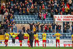 Partick Thistle's manager Ian McCall with Partick Thistle's players at the end. Dundee 1 v 3 Partick Thistle, Scottish Championship game player 19/10/2019 at Dundee stadium Dens Park.