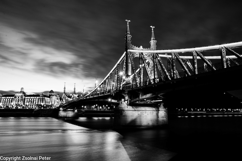 Nigth view of the Liberty bridge in Budapest, Hungary