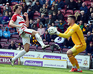 John Marquis misses the ball after Richard O'Connell gets it before him during the EFL Sky Bet League 1 match between Bradford City and Doncaster Rovers at the Northern Commercials Stadium, Bradford, England on 6 April 2019.General View of the Northern Commercials Stadium, Bradford before the EFL Sky Bet League 1 match between Bradford City and Doncaster Rovers at the Northern Commercials Stadium, Bradford, England on 6 April 2019.