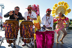 February 2, 2020, Miami Gardens, FL, USA: A band plays music as fans arrive to Hard Rock Stadium in Miami Gardens, Fla., before the San Francisco 49ers face off against the Kansas City Chiefs on Sunday, Feb. 2, 2020. (Credit Image: © TNS via ZUMA Wire)