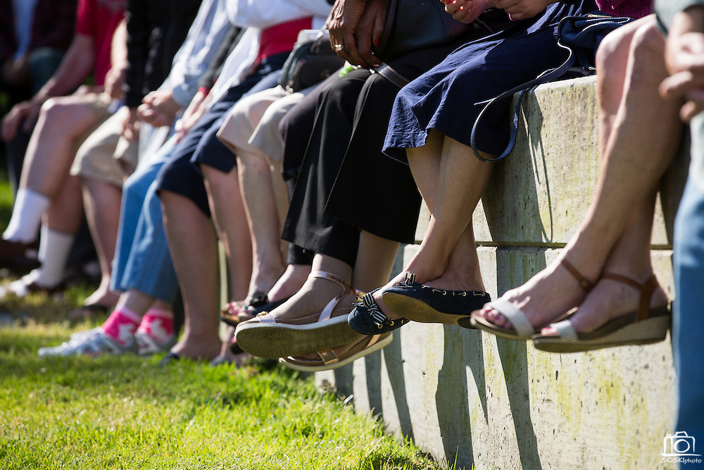 Attendees sit along the grassy hill during the City of Milpitas Memorial Day ceremony at Milpitas City Hall in Milpitas, California, on May 30, 2016. (Stan Olszewski/SOSKIphoto)