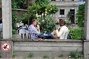 BERLIN, GERMANY - 26/06/2008 - TRAVEL, Restaurantscene at the Auguststrasse..cfr. Berlin, Germany, capital, dog, restaurant, ..©Christophe VANDER EECKEN
