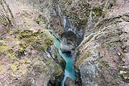 View down into the gorge of the River Mostnica from the Devil's Bridge (Hudičev most), near Stara Fužina and the Juliana Trail, Bohinj, Triglav National Park, Slovenia © Rudolf Abraham