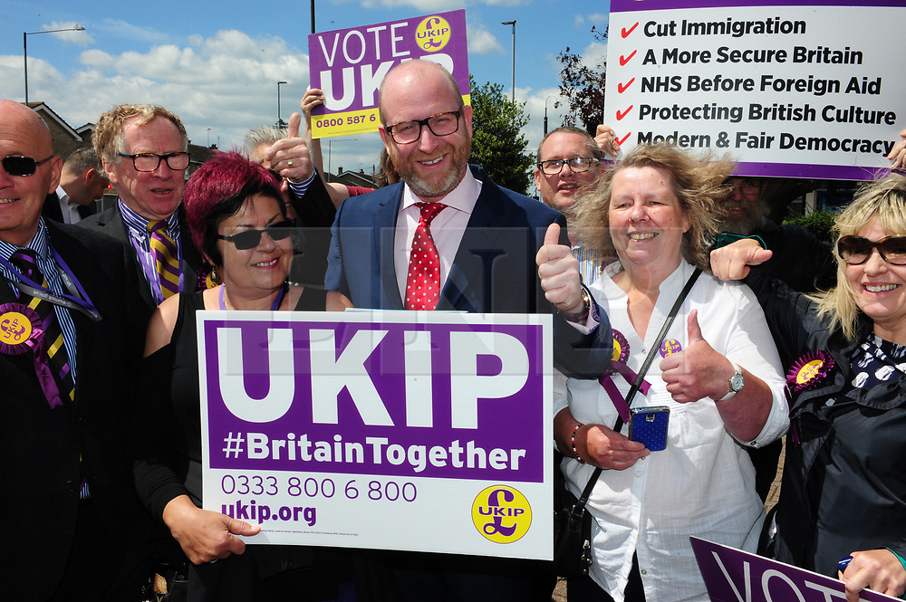 © Licensed to London News Pictures. 07/06/2017<br /> Paul Nuttall with UKIP supporters<br /> UKIP Leader Paul Nuttall in Corrington,Essex this afternoon on a walkabout on the last day of the election campaign for 2017.<br /> Photo credit: Grant Falvey/LNP