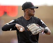 GLENDALE, ARIZONA - FEBRUARY 23:  Tim Anderson #7 of the Chicago White Sox throws the baseball toward first base during the game against the Los Angeles Dodgers on February 23, 2018 at Camelback Ranch in Glendale Arizona.  (Photo by Ron Vesely)  Subject:   Tim Anderson