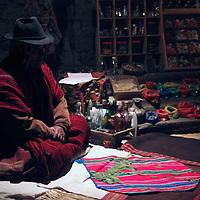 South America, Bolivia, Huatajata. Tata Lorenzo, a Kallawaya Medicine Man of Bolivia.