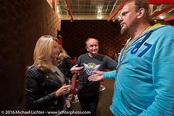 Irish Motorbike Show director Ruth Lemass meets Motorcycle her Russian counterpart Dmitry Khitrov who is also a motorcycle show and event organizer at the Intermot Motorcycle Trade Fair. Cologne, Germany. Wednesday October 5, 2016. Photography ©2016 Michael Lichter.