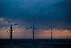 © Licensed to London News Pictures. <br /> 11/01/2017. <br /> Redcar, UK.  <br /> <br /> Storm clouds form over the offshore wind farm at South Gare near Redcar as heavy winds affect many parts of the country. <br /> <br /> <br /> Photo credit: Ian Forsyth/LNP
