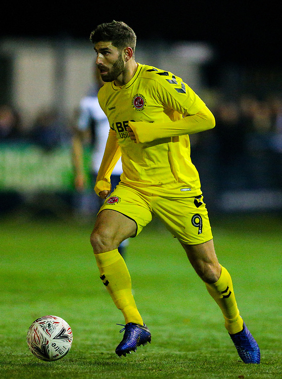 Fleetwood Town's Ched Evans<br /> <br /> Photographer Alex Dodd/CameraSport<br /> <br /> The Emirates FA Cup Second Round - Guiseley v Fleetwood Town - Monday 3rd December 2018 - Nethermoor Park - Guiseley<br />  <br /> World Copyright © 2018 CameraSport. All rights reserved. 43 Linden Ave. Countesthorpe. Leicester. England. LE8 5PG - Tel: +44 (0) 116 277 4147 - admin@camerasport.com - www.camerasport.com
