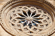Rose window - Trapani Sicily .<br /> <br /> Visit our SICILY PHOTO COLLECTIONS for more   photos  to download or buy as prints https://funkystock.photoshelter.com/gallery-collection/2b-Pictures-Images-of-Sicily-Photos-of-Sicilian-Historic-Landmark-Sites/C0000qAkj8TXCzro<br /> If you prefer to buy from our ALAMY PHOTO LIBRARY  Collection visit : https://www.alamy.com/portfolio/paul-williams-funkystock/trapanimaslalasaltpans.html
