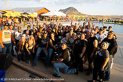 Jesse James Dupree with some of the revelers at the Harley-Davidson HOG pool party at the Full Throttle Saloon during the Sturgis Motorcycle Rally. SD, USA. Thursday, August 12, 2021. Photography ©2021 Michael Lichter.