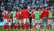 Arsenal's Arsene Wenger rallies the troops uring extra time during the FA Cup Semi Final match at Wembley Stadium, London. Picture date: April 23rd, 2017. Pic credit should read: David Klein/Sportimage