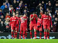 Football - 2019 / 2020 UEFA Europa League - Round of Sixteen, First Leg: Rangers vs. Bayer 04 Leverkusen<br /> <br /> Charles Aranguiz of Bayer Leverkusen celebrates scoring to make it 2-0, at Ibrox Stadium, Glasgow.<br /> <br /> COLORSPORT/BRUCE WHITE