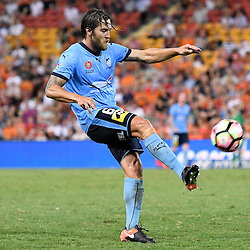 BRISBANE, AUSTRALIA - FEBRUARY 3: Joshua Brillante of Sydney kicks the ball during the round 18 Hyundai A-League match between the Brisbane Roar and Sydney FC at Suncorp Stadium on February 3, 2017 in Brisbane, Australia. (Photo by Patrick Kearney/Brisbane Roar)