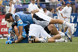 28 May 2007: Johns Hopkins Blue Jays midfielder Paul Rabil (9) celebrates winning the national championship in a 11-12 win over the Duke Blue Devils at M&T Bank Stadium during the NCAA finals in Baltimore, MD.