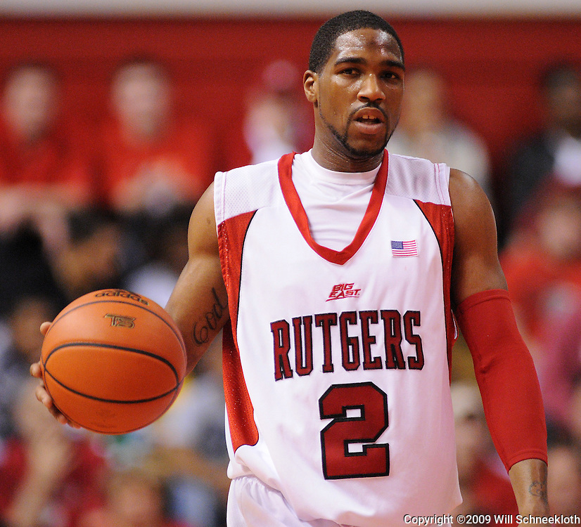 Mar 7, 2009; Piscataway, NJ, USA; Rutgers guard Anthony Farmer (2) bring the ball up court during the first half of Rutgers' senior day game against South Florida at the Louis Brown Athletic Center.  Rutgers won 45-42.