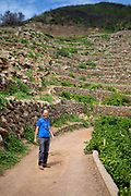 Winemaker Antonio Rallo of Donnafugata underneath the terraced vineyards of Pantelleria, Sicily.