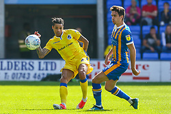 Daniel Leadbitter of Bristol Rovers is challenged by Alex Gilliead of Shrewsbury Town - Mandatory by-line: Ryan Hiscott/JMP - 01/09/2018 - FOOTBALL - Montgomery Waters Meadow - Shrewsbury, England - Shrewsbury Town v Bristol Rovers - Sky Bet League One